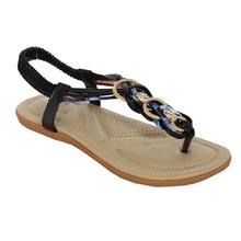 Million Bonheures Black Plait Detail Toe Post Flat Sandal