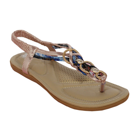 Million Bonheures Champagne Plait Detail Toe Post Flat Sandal