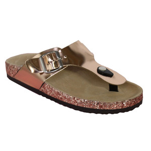 Girlhood Gold Toe Post Metallic Flat Sandal