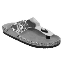 Girlhood Toe Post Metallic Flat Sandal