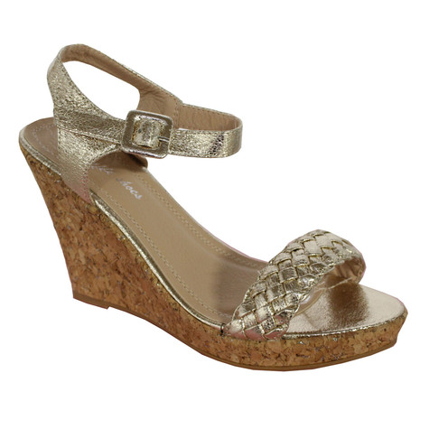 Style Shoes Gold Plait Detail High Wedge Sandal