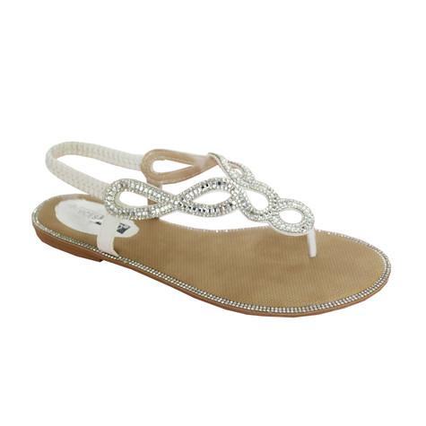 Vice Verso White Glam Toe-Post Sandal