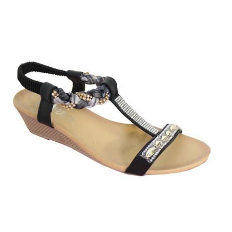 O'Moda Black T Bar Plait Detail Sandal