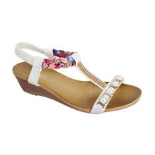 O'Moda White T Strap Jewel Detail Sandal