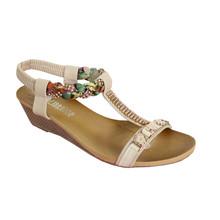O'Moda Beige T Strap Jewel Detail Sandal