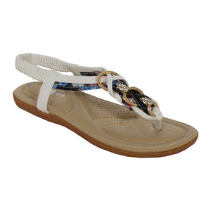 Million Bonheures White Plait Detail Toe Post Flat Sandal