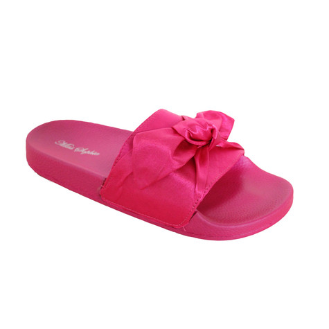 Happy Feet Fuschia Satin Bow Slider Sandal - NOW €20