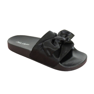 Happy Feet Black Satin Bow Slider Sandal - NOW €20