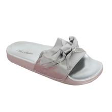 Happy Feet Silver Satin Bow Slider Sandal - NOW €20