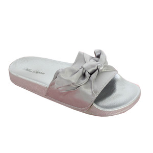 Happy Feet Silver Satin Bow Slider Sandal - NOW €20
