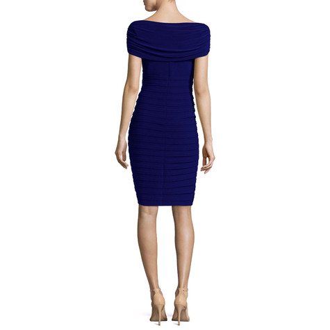 Scarlett Navy Sleeveless Drape Sheath Dress