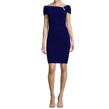 Scarlett Navy Sleeveless Drape Sheath Dress