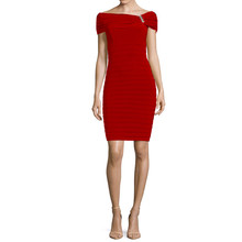 Scarlett  Poppy Sleeveless Drape Sheath Dress