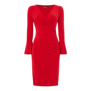 Lauren by Ralph Lauren Red Flute Sleeve Wrap Dress