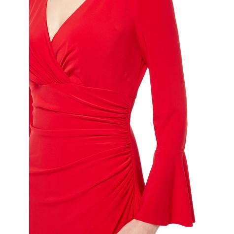 Lauren by Ralph Lauren Red Flute Sleeve Wrap Dress