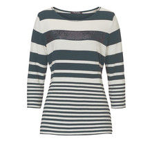 Betty Barclay Khaki Strip Diamante Detail Knit