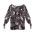 Zapara Chain Detail Black Floral Print Sweetheart Blouse