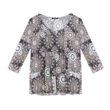 SophieB Taupe Multi Pattern Print Sweetheart Blouse