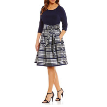 London Times Navy & Metallic Stripe Dress