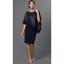 R and M Richard Plum Lace Wrap Short Dress