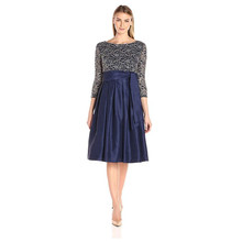 Jessica Howard Navy & Gold 3/4 Sleeve Tie Waist Dress with Pleated Skirt