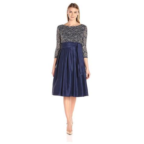 Jessica Howard Navy & Gold 3/4 Sleeve Tie Waist Dress with Pleated Skirt