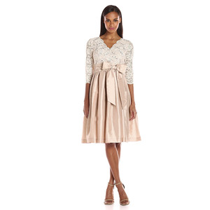 Jessica Howard Taupe Lace Fit and Flare Dress