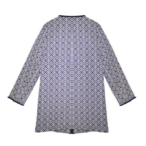 Kelya Navy Pattern Print Round Neck Jacket