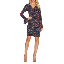 London Times Navy & Coral Wrap Dress