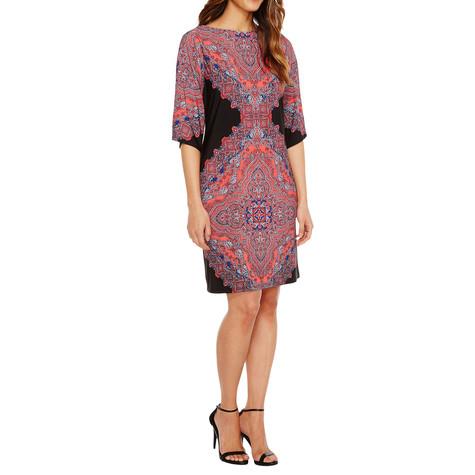 London Times Black & Coral Kimono Paisley Print Dress