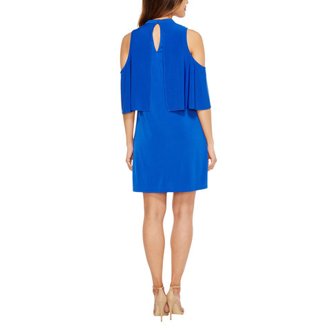 London Times Royal Blue Ruffle Dress