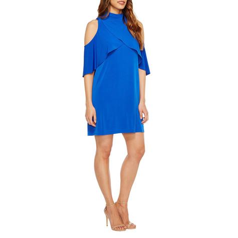 London Times Royal Blue Ruffle Dress