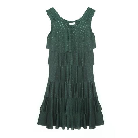 Zapara Green Layered Patterned Dress