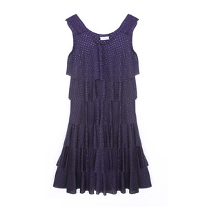 Zapara Navy Layered Pattern Dress