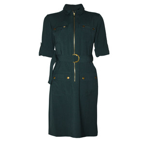 Sharagano Green Long Shirt Belt Dress