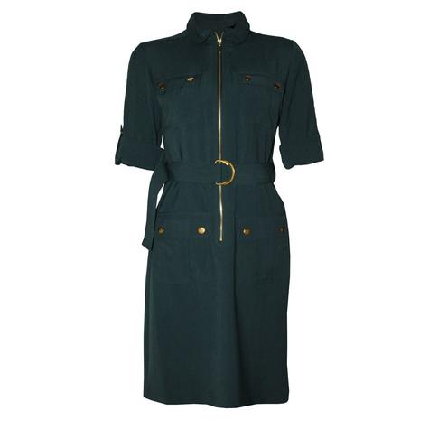 Sharagano Green Long Shirt Belt Dress
