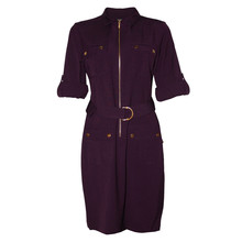 Sharagano Egg Plant Long Shirt Belt Dress