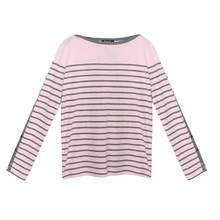 Twist Pink & Grey Stripe Top