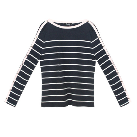 Twist Navy & White Stripe Top