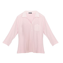 Twist Soft Pink 3/4 Sleeve Polo Top