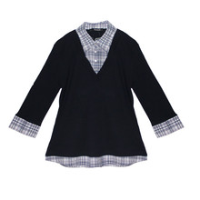 Twist Navy V-Neck Check 2 in 1 Top