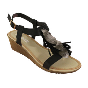Laura Mode Black Metallic Leaf Detail Wedge Sandal