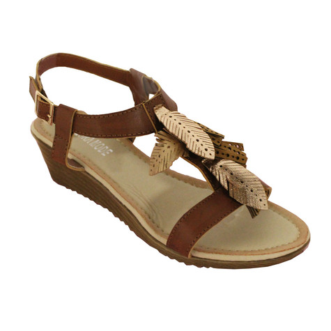 Laura Mode Caramel Metallic Leaf Wedge Sandal