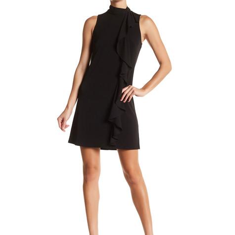London Times Solid Cascade Ruffle Dress
