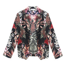 Zapara Black Floral Print Light Jacket