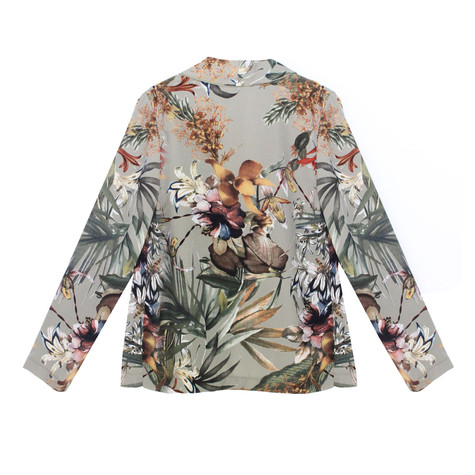 Zapara Green Floral Print Light Jacket