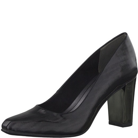 Marco Tozzi Black Chisel Toe Court Shoe