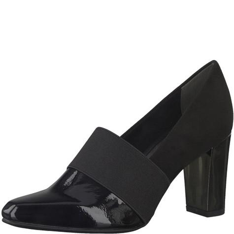 Marco Tozzi Black Patent Elastic Strap Shoe