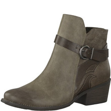 Marco Tozzi Taupe Block Heel Plain Front Boot