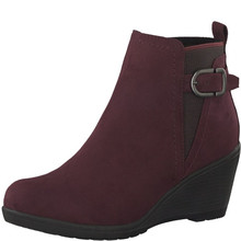 Marco Tozzi Bordeaux Plain Front Wedge Boot